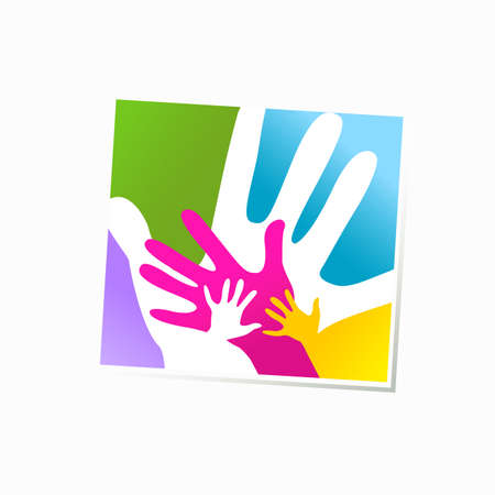 adults: children and adults hands together Illustration