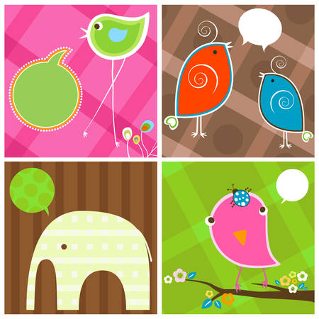 cute birds and elephant with bubbles speech Vector
