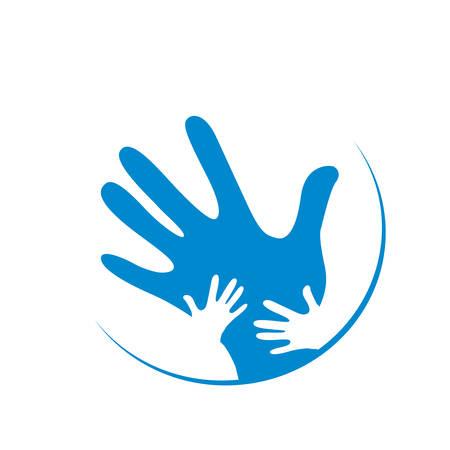 manos logo: niños y padre manos juntas