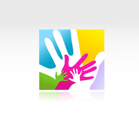 abstract logo: children and adults hands together Illustration