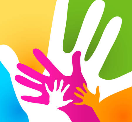 children and adults hands together Иллюстрация