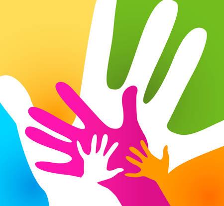 juntos: niños y adultos manos juntas