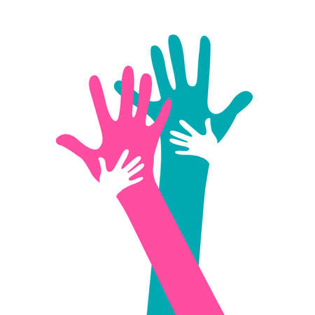 children and adults hands together Vector