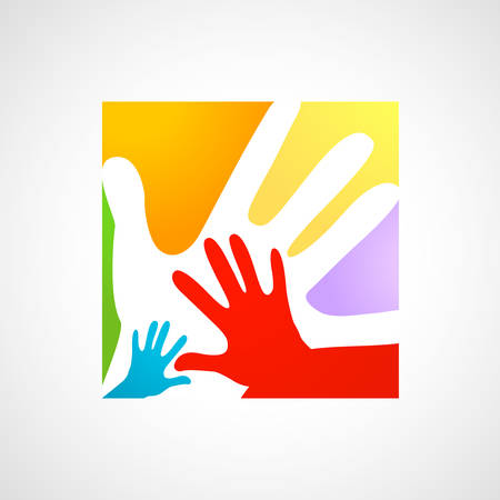 abstract family: children and adults hands together Illustration
