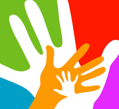 children and adults hands together Stock Illustratie