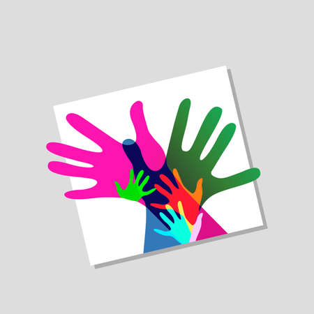 family unity: children and adults hands together, no transparencies Stock Photo