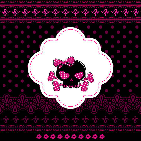 girls with bows: cute skull on crossbones