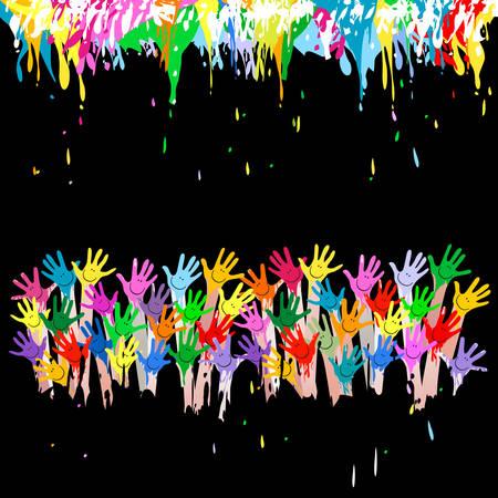 manos coloridas con las caras sonrientes