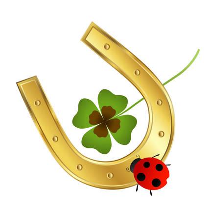 ladybird: ladybird, horseshoe and shamrock leaf
