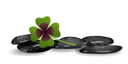 feng shui: shamrock leaf on black stones on white background Illustration