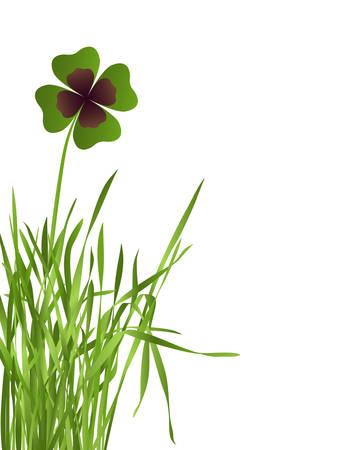 speelveld gras: shamrock leaf in grass field on white background