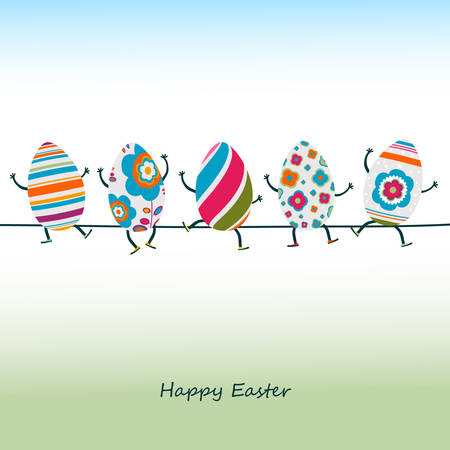 kids painted hands: easter eggs characters Illustration