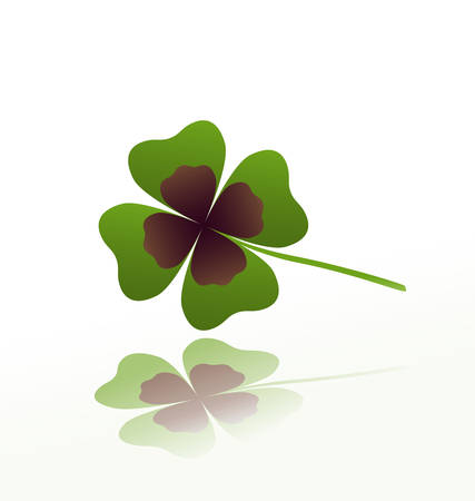 good luck: shamrock leaf with reflection