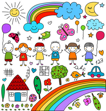 hand drawing: kids, clouds, sun, rainbow.., child like drawings elements set