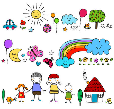 happy family and cute nature elements Illustration