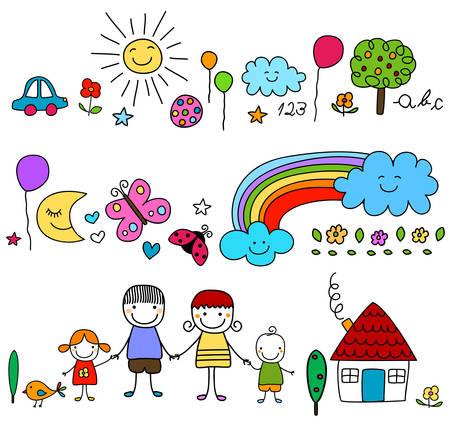 glückliche Familie und nette Natur-Elemente