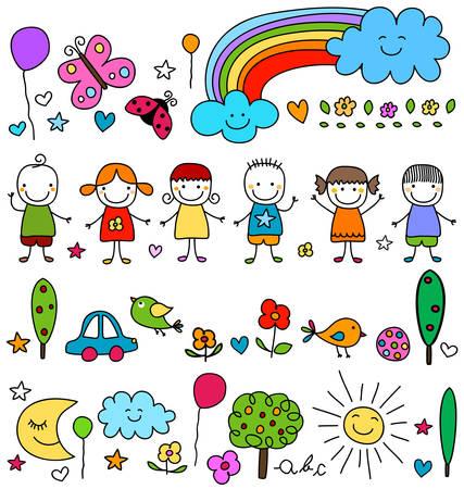 natur: carino bambini ed elementi natur modello Vettoriali