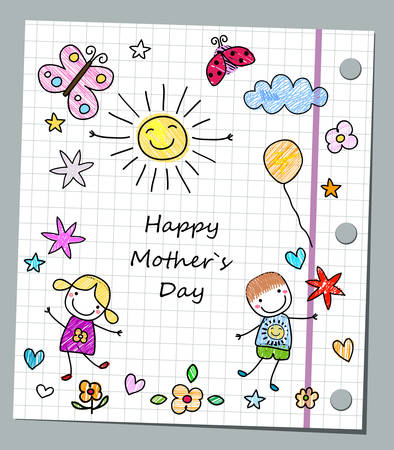 notebook icon: happy mother`s day card Illustration