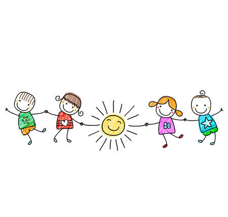 animated action: happy kids playing