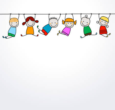 hanging banner: happy kids playing