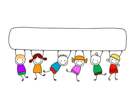 kid's: happy kids with banner Illustration