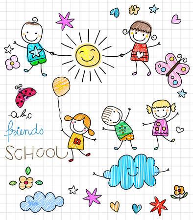 niños en la escuela: felices los niños jugando Vectores