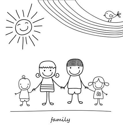 幸せな家族と虹、図面のような黒と白の子
