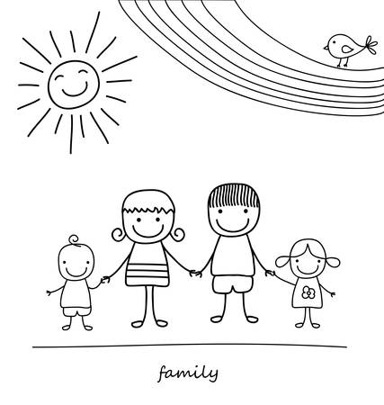 happy family and rainbow, black and white child like drawing