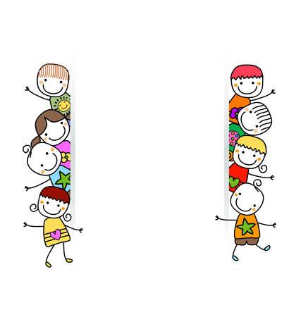 gelukkige kinderen met banner Stock Illustratie