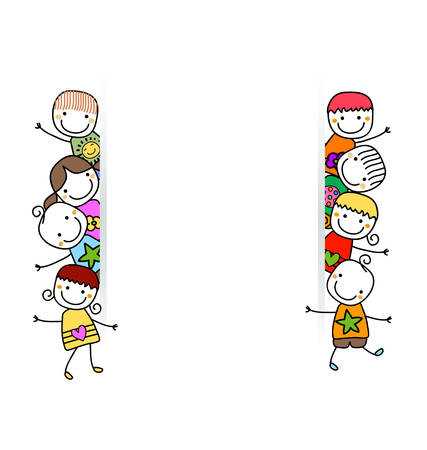 happy kids with banner Illustration