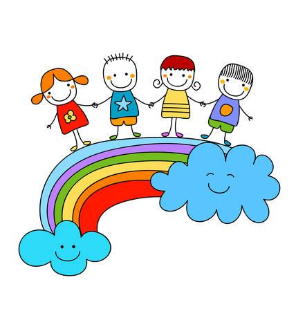 mejores amigas: ni�os felices en un arco iris, mejores amigos