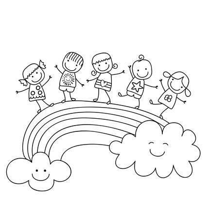 best friends: happy children on a rainbow, best friends Illustration