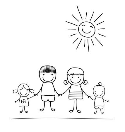 Família feliz e arco-íris, criança preto e branca como desenho Foto de archivo - 39262796