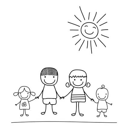 gelukkig gezin en regenboog, zwart en wit kind als een tekening