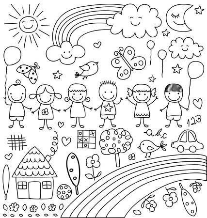 kids, clouds, sun, rainbow.., child like drawings elements set