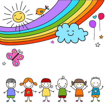 kids group and rainbow