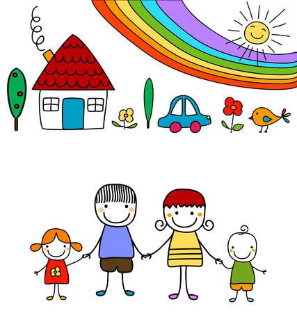 familia feliz casa: familia feliz y arco iris
