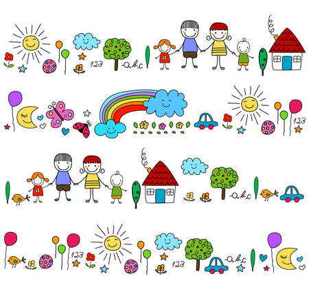 happy family and cute nature elements Stock Illustratie