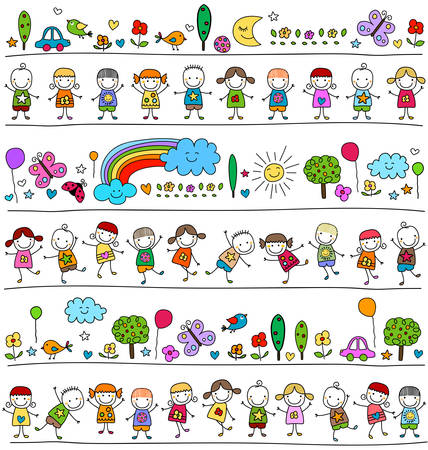nursery school: colorful pattern with children and cute nature elements, child like drawing style