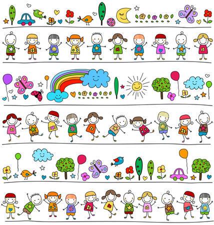 dibujo: patrón de colores con los niños y elementos de la naturaleza lindo, niño como estilo de dibujo