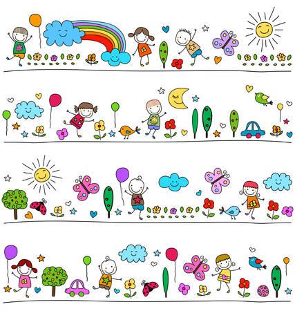 かわいい自然の要素を持つ子供、描画スタイルのような子供のためにカラフルなパターン  イラスト・ベクター素材