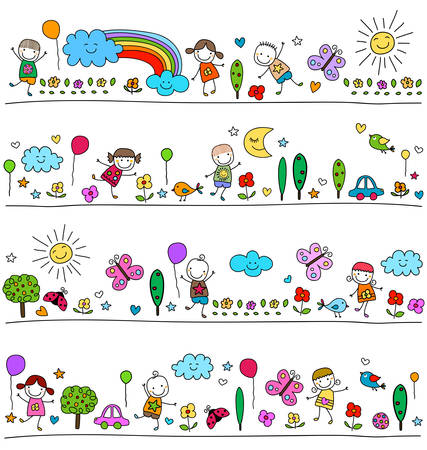 star border: colorful pattern for children with cute nature elements, child like drawing style