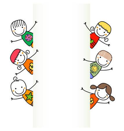 happy kids with banner Stock Illustratie