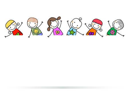 happy kids with banner Vectores