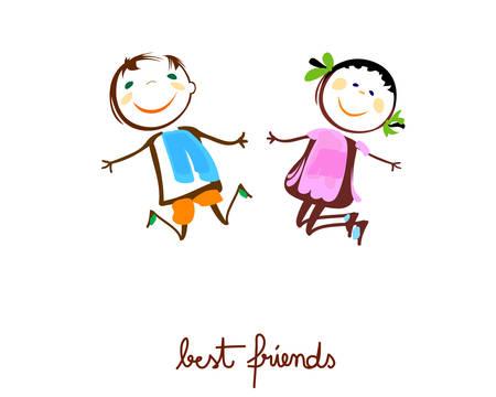 Kinder glücklich springen Illustration