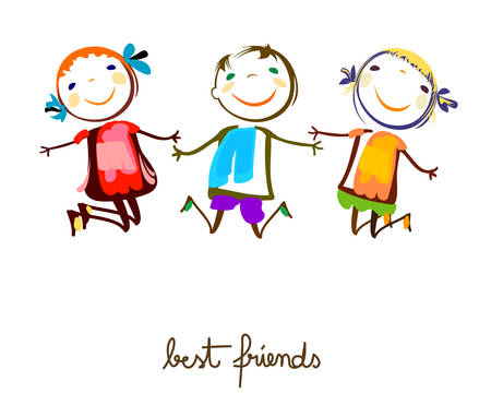 cartoon little girl: best friends Illustration