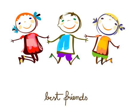 niños felices: mejores amigos  Vectores