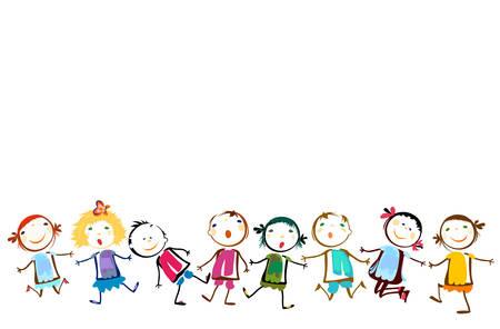 niños felices: felices los niños jugando Vectores
