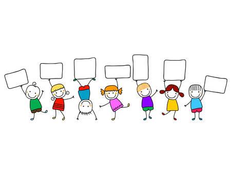 happy kids with banners Stock Illustratie