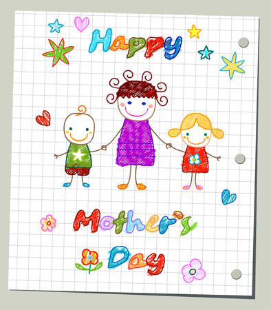 happy mother`s day card Illustration